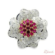 Flower Shape Diamond Ladies Ring Cardinal